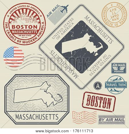 Retro vintage postage stamps set Massachusetts United States theme vector illustration