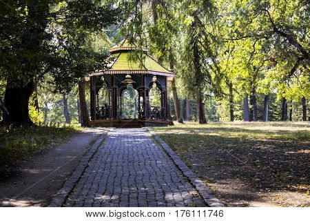 Arbour nature design pavilion art relax Sofiyevsky park summerhouse walk autumn.