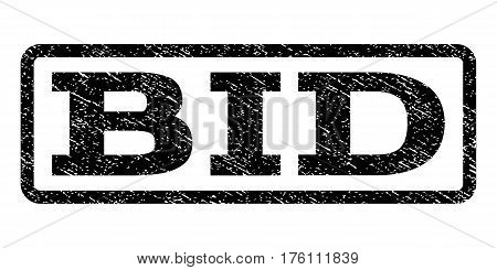 Bid watermark stamp. Text caption inside rounded rectangle frame with grunge design style. Rubber seal stamp with dirty texture. Vector black ink imprint on a white background.