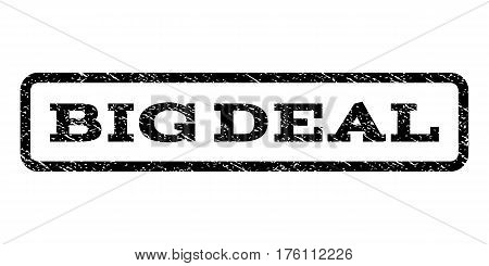Big Deal watermark stamp. Text tag inside rounded rectangle frame with grunge design style. Rubber seal stamp with scratched texture. Vector black ink imprint on a white background.