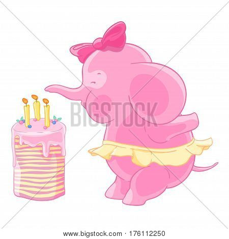 Cute pink elephant girl with bow and the skirt blows out candles on a birthday cake. Makes a wish. Vector illustration.T-shirt print. Greeting card.