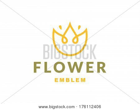 Floral logo with three leaves - vector illustration, emblem design on white background