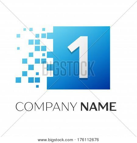 Number one vector logo symbol in the colorful square on white background. Vector template for your design