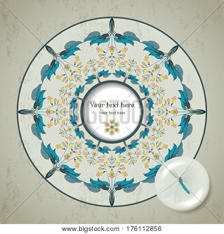 Vector card. Round floral pattern on vintage plaster background. Hosta plant. Decoration in the form of a lens with a lacewing inside. Frame for your text.