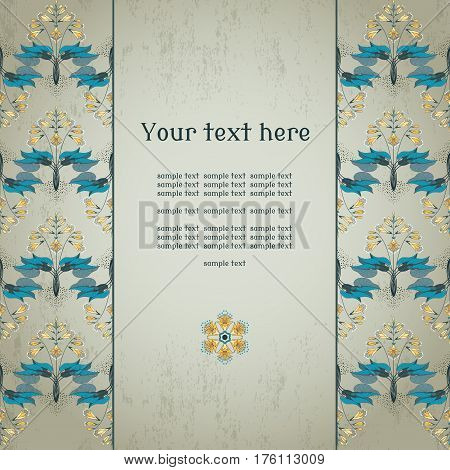 Vector card. Border in modern style. Decorative ornament of hosta plants on vintage plaster background. Place for your text. Perfect for invitations announcement or greetings