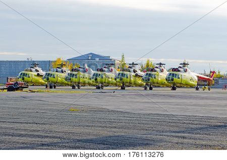 Several helicopters parked at the airport for repairs.