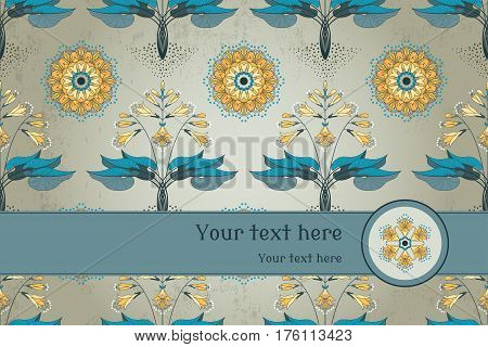 Vector card. Seamless floral pattern in modern style. Hosta plant on vintage plaster background. Place for your text. Perfect for invitations announcement or greetings.