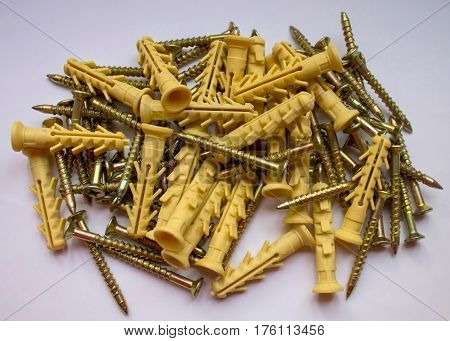 Construction drill macro screw anchors carving detail fasteners hexagonal iron.