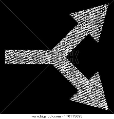 Bifurcation Arrow Right vector textured icon for overlay watermark stamps. Fabric white vectorized texture. Symbol with dirty design. Rubber seal stamp with fiber textile structure.