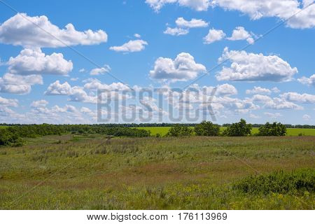 Clouds Float In The Blue Sky Over The Green Prairie
