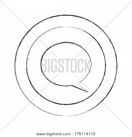 blurred silhouette circular frame with dialogue box vector illustration