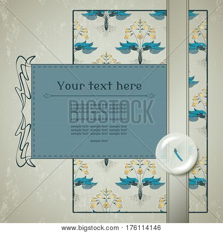 Vector card. Floral hosta pattern on vintage plaster background. Decoration in the form of a lens with a lacewing inside. Place for your text.