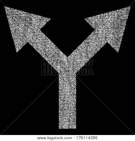 Bifurcation Arrow Up vector textured icon for overlay watermark stamps. Fabric white vectorized texture. Symbol with scratched design. Rubber seal stamp with fiber textile structure.