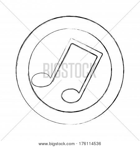 blurred silhouette circular frame with musical note vector illustration