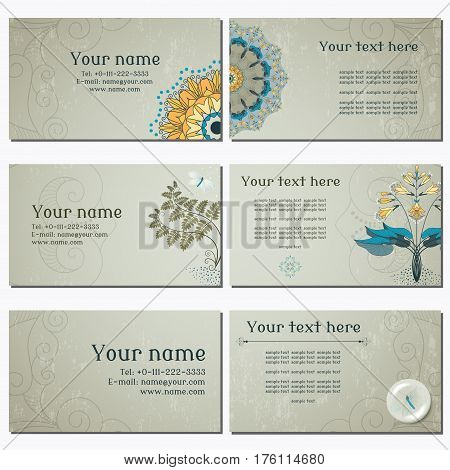 Set of six horizontal business cards. Hosta fern and lacewing on vintage plaster background. Complied with the standard sizes.