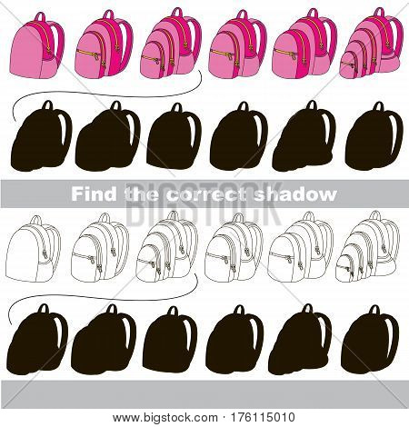 Pink School Bag set with shadows to find the correct one. Game to compare and connect objects and true shadows, the educational kid gaming, logic game with simple game level for preschool children.