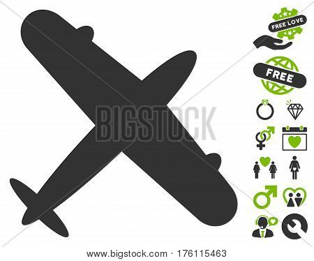 Aeroplane pictograph with bonus lovely pictograph collection. Vector illustration style is flat iconic eco green and gray symbols on white background.