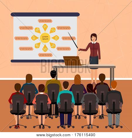 Business people seminar. Group office employee on a management finance teamwork training. Flat vector illustration.