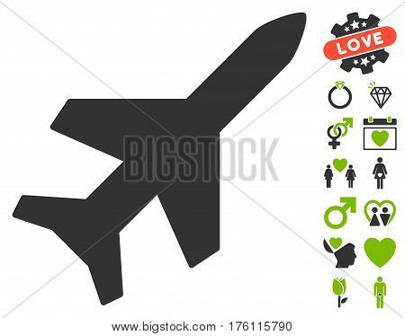 Aeroplane icon with bonus dating pictures. Vector illustration style is flat iconic eco green and gray symbols on white background.