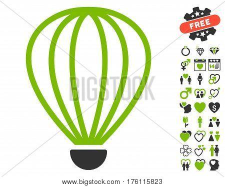 Aerostat icon with bonus valentine pictograms. Vector illustration style is flat iconic eco green and gray symbols on white background.