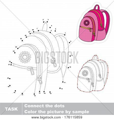 Pink Backpack. in vector to be traced by numbers, the easy educational kid game with simple game level, the education and gaming for kids, visual game for children.