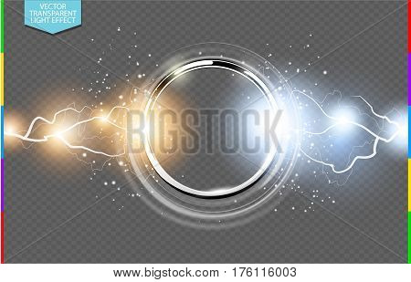 Abstract metal chrome ring power science transparent background. Electric shine round tech frame energy lightning. Light effect with sparks. Fiction vector glowing stainless steel round
