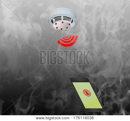 Smoke detector on the ceiling with red warning light sensor and smoke. Send warning message to the mobile phone.