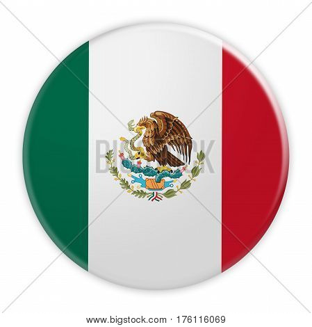 Mexico Flag Button News Concept Badge 3d illustration on white background