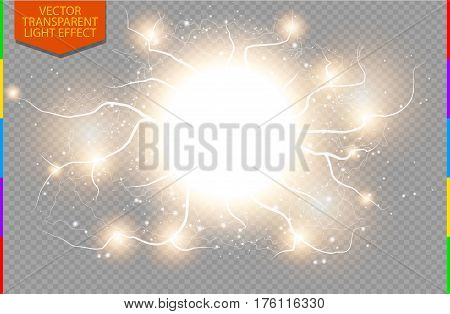 Golden abstract energy shock explosion special light effect with spark. Vector glow power lightning cluster. Electric discharge on transparent background. High voltage charged core
