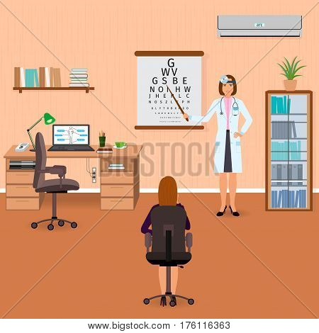 Ophthalmologist checks eyesight of patient in oculist office interior. Medicine doctor visiting concept. Flat vector illustration.
