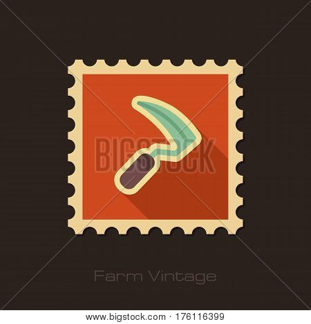 Sickles retro flat stamp with long shadow isolated garden eps 10