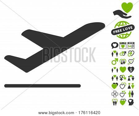 Airplane Departure icon with bonus lovely pictograph collection. Vector illustration style is flat iconic eco green and gray symbols on white background.
