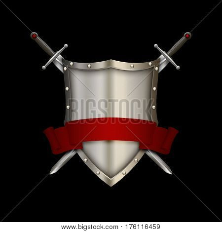 Ancient riveted shield with two swords and red ribbon on black background.