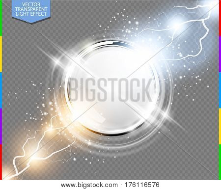 Abstract metal chrome ring power science transparent background. Electric shine round tech frame white space energy lightning. Light effect with sparks. Fiction vector glowing stainless steel round