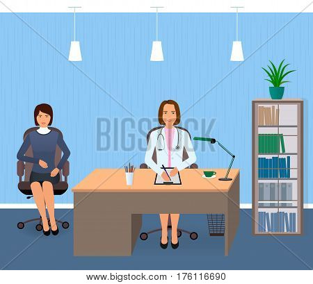 Medicine interior with sitting patient and doctor. Young woman visiting doctor's office. Flat vector illustration.