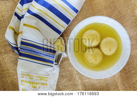 Jewish Holiday Symbol Traditional Chicken Matzo Ball Soup