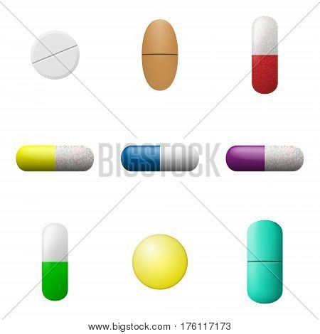 Vector pills and capsules set. Pharmacy drugs icons. Medicament symbols isolated on a white background. Vector illustration.