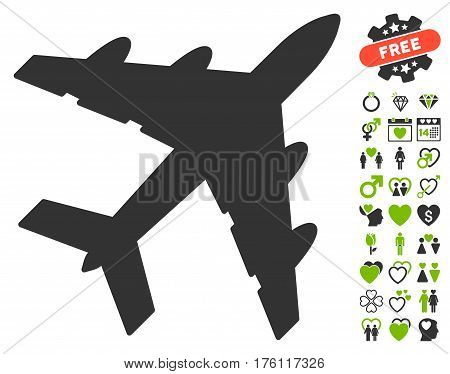 Bomber pictograph with bonus lovely pictograms. Vector illustration style is flat iconic eco green and gray symbols on white background.
