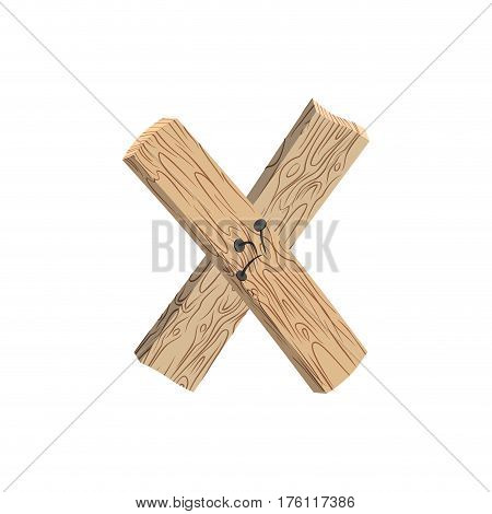 Letter X Wood Board Font. Plank And Nails Alphabet. Lettering Of Boards. Country Chipboard Abc