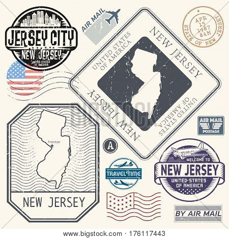 Retro vintage postage stamps set New Jersey United States theme vector illustration