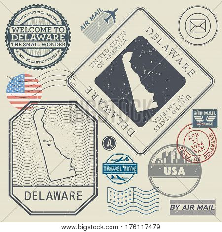 Retro vintage postage stamps set Delaware United States theme vector illustration