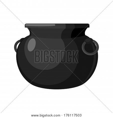 Cauldron Empty. Pot Isolated. Metal Boiler. Magic Witches  Bowler