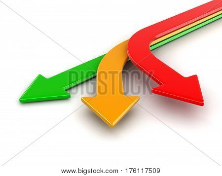 3D Illustration. 3d image of arrows in three directions. Image with clipping path