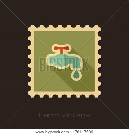 Faucet retro flat stamp with long shadow isolated garden eps 10