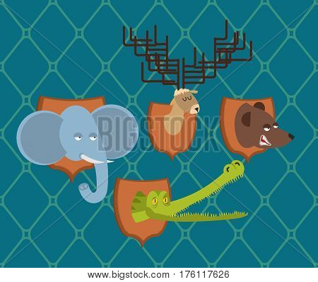 Hunter Trophy Set Elephant And Bear. Head Moose And Crocodile On Shield. Scarecrow Wild Beast
