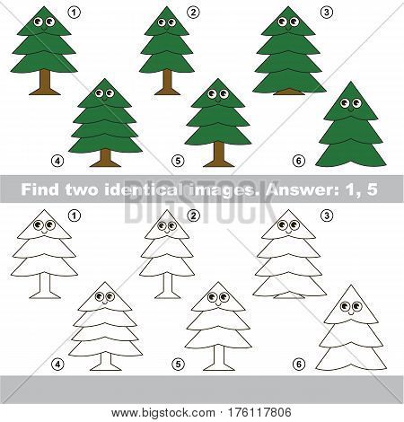 Educational kid matching game to find design difference, the task is to find similar trees. The educational game for kids with easy game level. Compare objects and find two same Evergreen Trees.