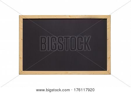front view of rectangular horizontal black chalkboard with wooden frame isolated on white background