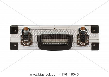 horizontal front view of closed silver metal aluminum security suitcase isolated on white background