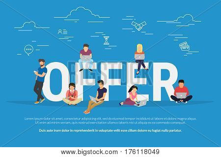 Offer concept vector illustration of people receiving different types of offers such as job, online shopping, discount, promotion sale. Flat concept design of young men and women using laptop online
