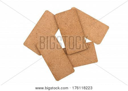 top view stack of empty brown cardboard tag chips isolated on white background